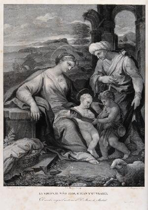 view Saint Mary (the Blessed Virgin) with the Christ Child, Saint John the Baptist and Saint Elisabeth. Lithograph by C. Rodriguez after L. Giordano.