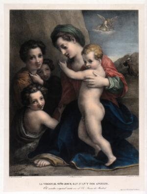 view Saint Mary (the Blessed Virgin) with the Christ Child, Saint John the Baptist, Saint Francis of Assisi and angels. Coloured lithograph by P. Guglielmi after Andrea del Sarto.