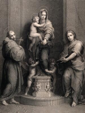 view Saint Mary (the Blessed Virgin) with the Christ Child and Saint Francis of Assisi, Saint John the Evangelist and angels. Engraving by G. Felsing after A. del Sarto.