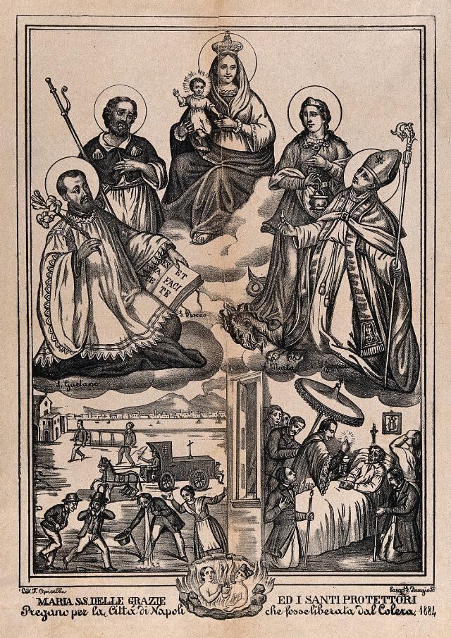 Saint Mary (the Blessed Virgin) with the Christ Child and Saint Gaetano, Saint Roch, Saint Martha, and Saint Januarius with scenes from a cholera epidemic below. Lithograph by F. Opicella.