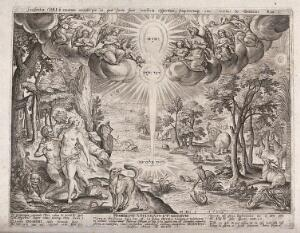 view The garden of Eden illuminated by light symbolising the Trinity. Engraving by A. Collaert after H. Bol.