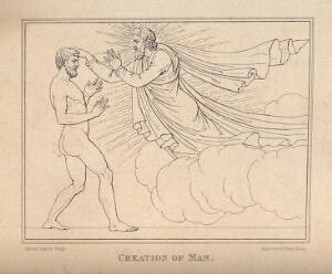 view God creates man, his hand inspiring life into the head of Adam. Etching by H. Moses after A. Canova.