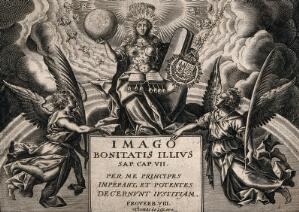 view A regal Mary (or Wisdom?), as the Church of the Last Judgement, flanked by angels. Line engraving by T. de Leu.