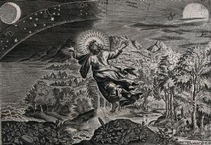 view The fourth day of Creation: God creates the sun, moon and stars. Line engraving by Thomas de Leu.