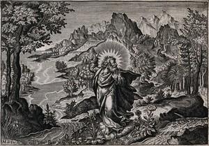 view God creates the fertile earth. Line engraving by E. van den Bosche after M. de Vos.