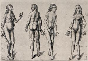 view Adam and Eve holding fruit: Four figures. Heliogravure by C. Amand-Durand.