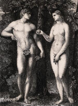 view Eve shows Adam the apple she has bitten. Etching by W. Unger after J. Palma the elder.