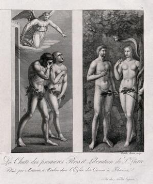 view The Fall: Adam and Eve driven out by the Angel for eating the forbidden fruit. Etching by C. Lasinio after T. Masaccio and T. Masolino.