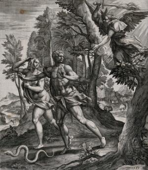 view Adam and Eve expelled from Eden by an angel with a flaming sword. Line engraving by R. Sadeler after M. de Vos, 1583.