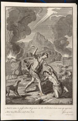view Cain kills Abel. Engraving by M. van der Gucht after G. Hoet.