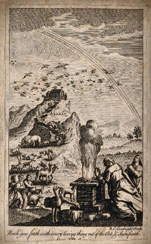 view Noah's entourage comes down from Mount Ararat; Noah makes a sacrifice. Etching by N.C. Goodnight.