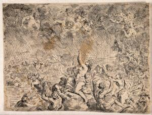 view Gods watch from the heavens as the Flood engulfs the terrified people. Etching.
