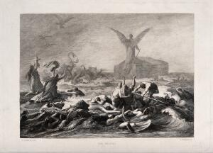 view A huge angel stands atop Noah's ark, its back turned towards the entwined mass of drowning creatures; people pray and one holds her baby aloft; serpents tussle among the dying. Etching by L. Friedrich after W. Kaulbach.