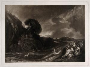 view A woman is swept away by the tempestuous deluge; a small company of people on a hill try to save themselves; a serpent slithers beside them. Mezzotint after J. Martin.