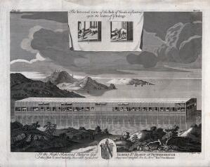 view Noah's ark and all its compartments displayed. Etching by J. Mynde.