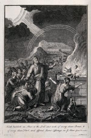 view Noah and his entourage come down from the ark and make a sacrifice to God. Etching by M. van der Gucht after G. Hoet.