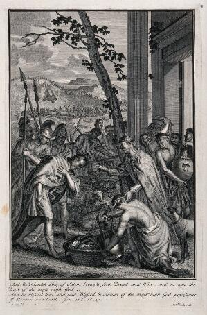 view Melchizedek blesses Abraham and gives him bread and wine; Abraham's soldiers return victoriously. Etching by M. van der Gucht after G. Hoet.