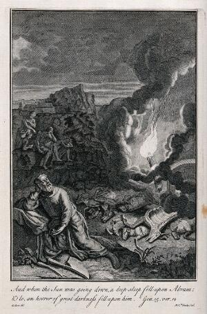 view Abraham has a nightmarish vision of fire in the darkness. Etching by M. van der Gucht after G. Hoet.