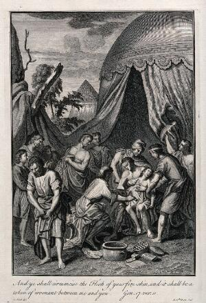 view Abraham and his men begin to circumcise themselves. Etching by M. van der Gucht after G. Hoet.