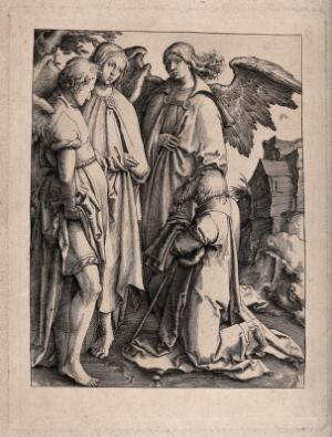 view Abraham falls on his knees before the three angels. Engraving after Lucas van Leyden.