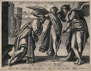 view Two angels visit Lot with the intention of destroying Sodom: he offers them hospitality. Line engraving by P. Galle after A. Blocklandt.