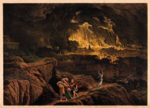 view Lot and his family flee Sodom as it burns; Lot's wife faces the terrible scene, aghast. Coloured lithograph after J. Martin.
