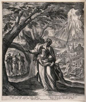 view Lot's wife looks back at the flames pouring from Heaven upon Sodom; Lot and his daughters go on ahead. Engraving by R. Sadeler after M. de Vos, 1583.