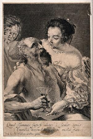 view Lot made drunk by his daughters. Line engraving by Vienot after Cl. Mellan.