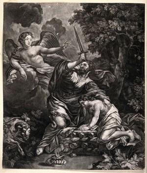 view An angel intervenes as Abraham prepares to sacrifice Isaac. Mezzotint.