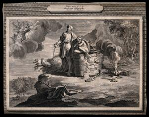 view An angel descends as Abraham prepares to sacrifice Isaac; the ram lurks in the bushes. Line engraving.