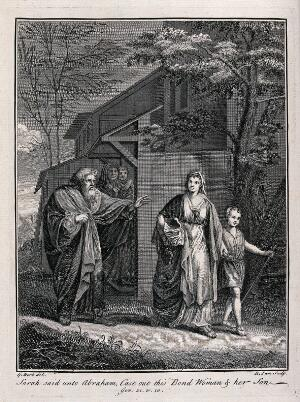 view Abraham banishes Hagar and Ishmael; Sarah and Isaac look on. Engraving by R. Parr after G. Hoet.