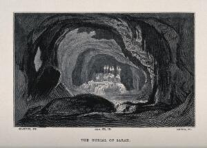 view Sarah is ritually laid to rest in a sepulchral cavern. Wood engraving by Smith after J. Martin.
