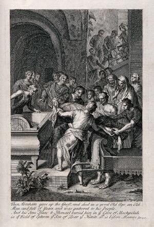 view The funeral of Abraham. Engraving by M. van der Gucht after G. Hoet.