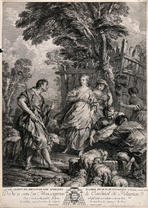 view Rachel approaches Jacob through a flock of sheep; one of the inhabitants of the land points her out as being Laban's daughter. Line engraving by F. Bartolozzi after W. Hamilton, 1791.