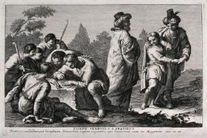 view Joseph is sold by his brothers. Etching.