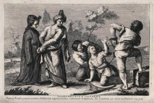 view Joseph is dragged out of the pit and sold to some passing Midianites. Etching.