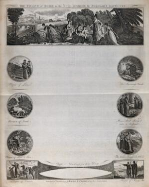 view Scenes from the life of Moses before the Exodus. Etching, 1799.