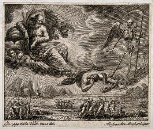 view God, aided by an angel, a serpent and Death, inflicts calamitous weather upon the Israelites. Engraving by A. Mochetti after G. della Valle.