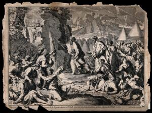 view Moses draws water from the rock, and the Israelites quench their thirst. Etching by J. Le Pautre.