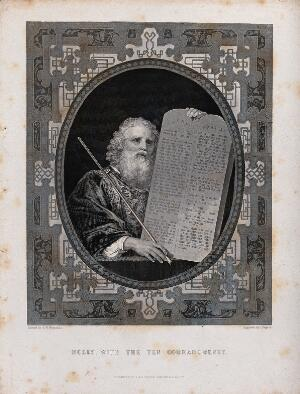 view Moses, with his rod and the table of the ten commandments. Etching by J. Rogers after S.W. Reynolds.