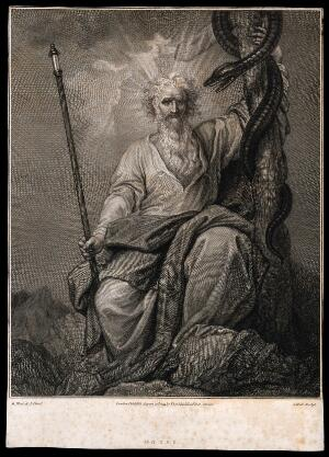 view Moses with his rod and his brazen serpent. Engraving by J. Hall, 1793, after B. West.