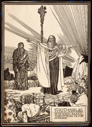 view Moses presents his brazen serpent to the people. Process print, c. 1890.