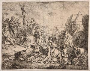 view Moses points to the brazen serpent while his people carry their wounded towards it. Etching.