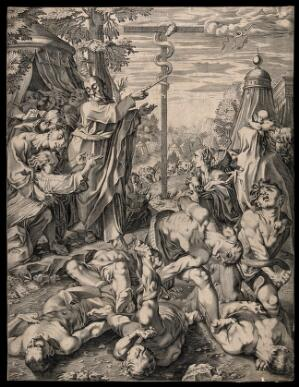 view People writhe in pain among the fiery serpents as Moses produces the brazen serpent. Line engraving after F. Fenzoni.