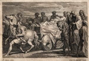view Jacob is taken to the cave in the field of Machpelah by a mournful procession; he wants to die in the spot bought by Abraham. Etching by L. du Guernier after L. Chéron.