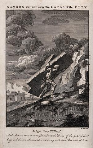 view Samson carries the gates of Gaza up to the mount of Hebron. Etching by J. Taylor after F. Verdier, 1698.