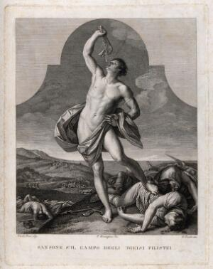 view Samson, victorious over the combined powers of the Philistines, holds the jaw of the ass up high. Engraving by G. Tomba after F. Rosaspina after G. Reni.