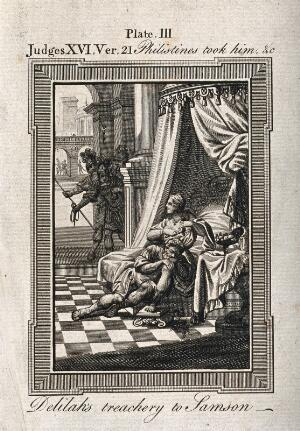 view Delilah cuts the sleeping Samson's hair, smiling at the Philistine soldiers waiting in the shadows. Engraving.