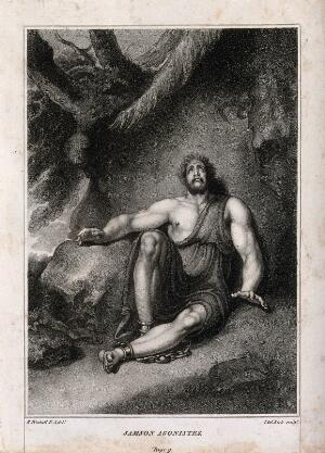 view A fettered Samson sits blind and distraught in a gloomy clearing. Stipple engraving by T. Kirk after R. Westall.
