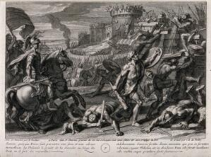 view The young Samson excels on the battlefield. Etching by J.B. de Poilly after F. Verdier, 1698.